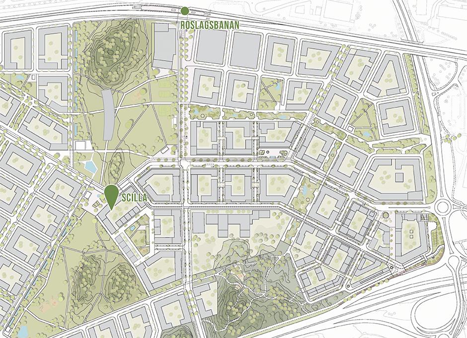 Skanska nyproduktion av bostadsrätter Scilla i Täby Park