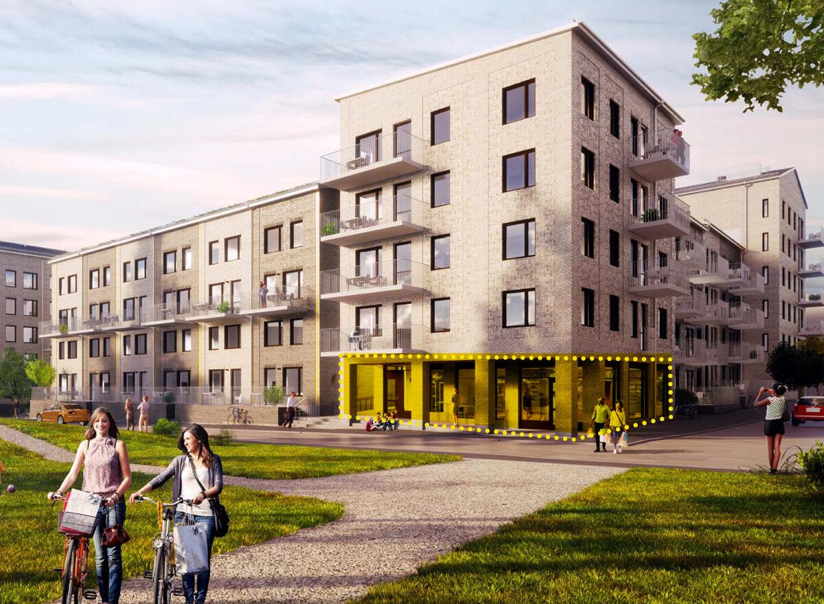Lediga lokaler för cykelverkstad i kvarteret Manegen i Täby Park