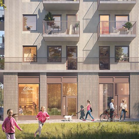 Bostadsrättsföreningen Scilla i Täby Park byggs av Skanska